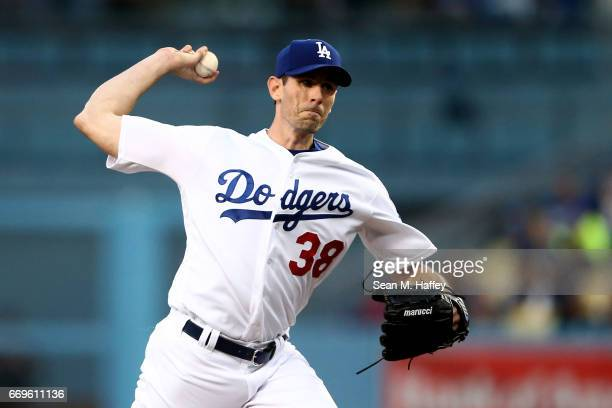 Brandon McCarthy of the Los Angeles Dodgers pitches during the first inning of a game against the Arizona Diamondbacks at Dodger Stadium on April 17...