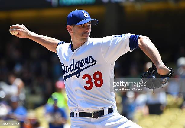Brandon McCarthy of the Los Angeles Dodgers pitches in the first inning of the game against the Tampa Bay Rays on July 27 2016 in Los Angeles...
