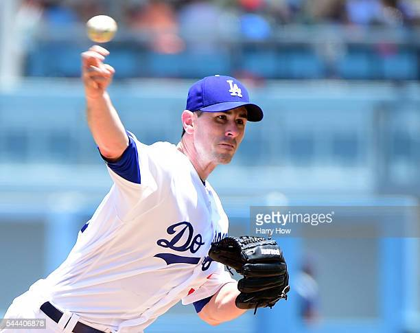 Brandon McCarthy of the Los Angeles Dodgers pitches to the Colorado Rockies during the first inning at Dodger Stadium on July 3 2016 in Los Angeles...