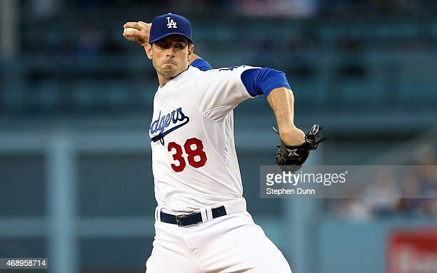 Brandon McCarthy of the Los Angeles Dodgers throws a pitch against the San Diego Padres at Dodger Stadium on April 8 2015 in Los Angeles California