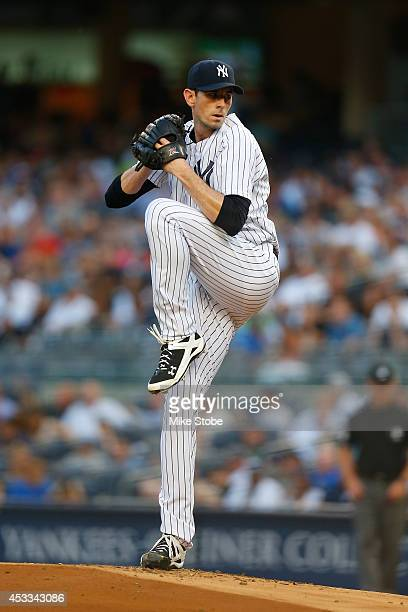 Brandon McCarthy of the New York Yankees in action against the Detroit Tigers at Yankee Stadium on August 4 2014 in the Bronx borough of New York...