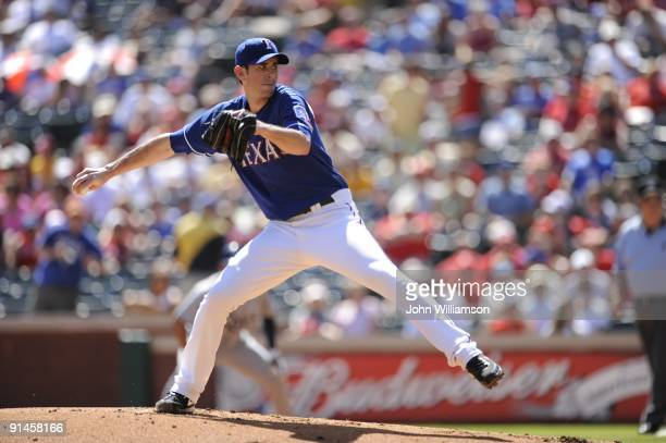 Brandon McCarthy#20 of the Texas Rangers pitches during the game against the Tampa Bay Rays at Rangers Ballpark in Arlington in Arlington Texas on...