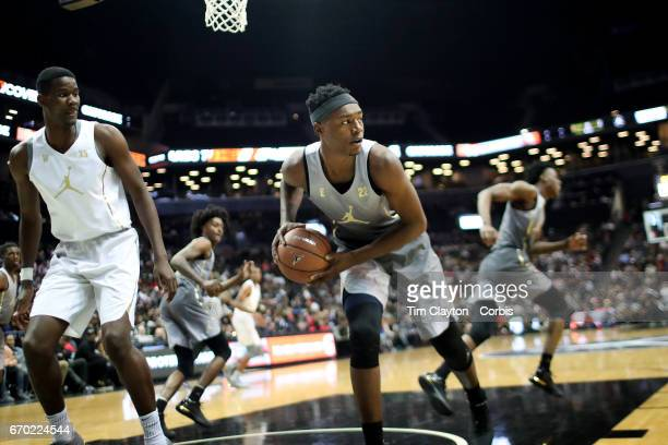 Brandon McCoy in action during the Jordan Brand Classic National Boys Team AllStar basketball game at The Barclays Center on April 14 2017 in New...