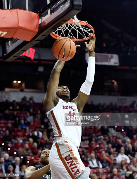 Brandon McCoy of the UNLV Rebels dunks the ball against the San Diego State Aztecs during their game at the Thomas Mack Center on January 27 2018 in...