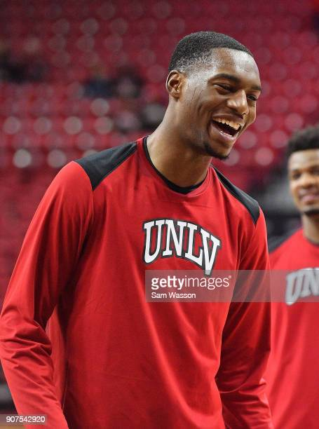 Brandon McCoy of the UNLV Rebels stands on the court before his team's game against the New Mexico Lobos at the Thomas Mack Center on January 17 2018...