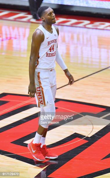 Brandon McCoy of the UNLV Rebels stands on the court during his team's game against the Wyoming Cowboys at the Thomas Mack Center on February 10 2018...