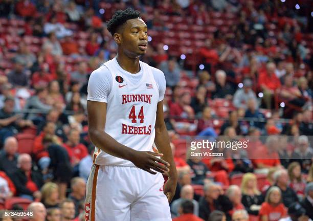 Brandon McCoy of the UNLV Rebels stands on the court during their game against the Florida AM Rattlers at the Thomas Mack Center on November 11 2017...