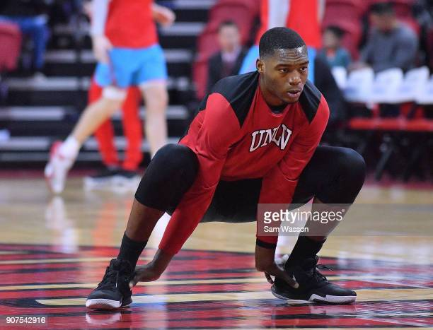 Brandon McCoy of the UNLV Rebels warms up before his team's game against the New Mexico Lobos at the Thomas Mack Center on January 17 2018 in Las...