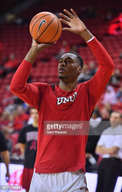 Brandon McCoy of the UNLV Rebels warms up before his team's game against the Wyoming Cowboys at the Thomas Mack Center on February 10 2018 in Las...