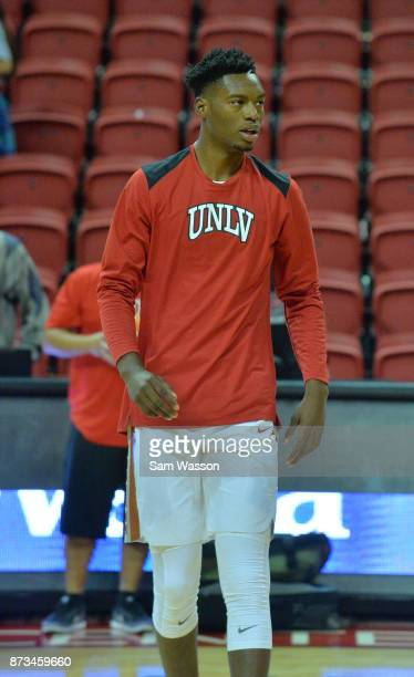 Brandon McCoy of the UNLV Rebels warms up on the court before their game against the Florida AM Rattlers at the Thomas Mack Center on November 11...