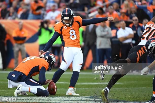 Brandon McManus of the Denver Broncos has a kick blocked in the second quarter against the Cincinnati Bengals The Denver Broncos hosted the...