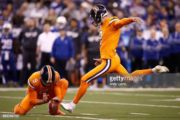 Brandon McManus of the Denver Broncos kicks a field goal against the Indianapolis Colts during the second half at Lucas Oil Stadium on December 14...