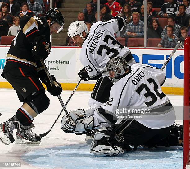 Brandon McMillan of the Anaheim Ducks attempts a shot on goal against Jonathan Quick of the Los Angeles Kings during the game on November 17, 2011 at...