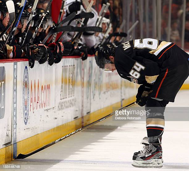 Brandon McMillan of the Anaheim Ducks skates off the ice against the Los Angeles Kings during the game on November 17, 2011 at Honda Center in...