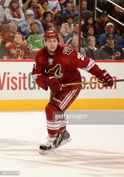 Brandon McMillan of the Arizona Coyotes skates up ice against the Edmonton Oilers at Gila River Arena on October 15, 2014 in Glendale, Arizona.