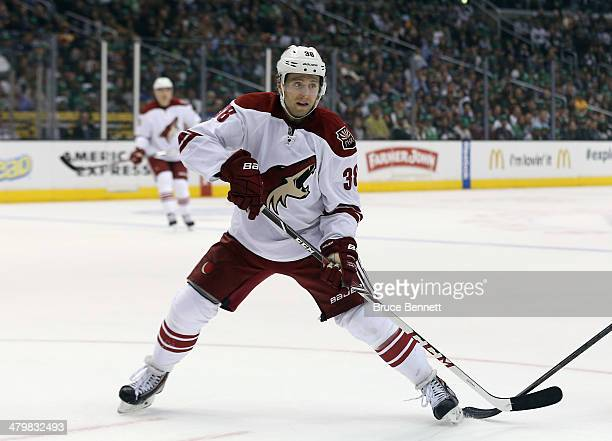 Brandon McMillan of the Phoenix Coyotes skates against the Los Angeles Kings at the Staples Center on March 17 2014 in Los Angeles California