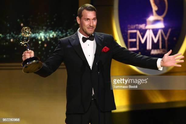 Brandon McMillan on stage during the 45th Annual Daytime Creative Arts Emmy Awards at Pasadena Civic Auditorium on April 27, 2018 in Pasadena,...