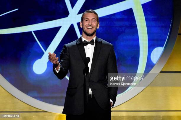 Brandon McMillan speaks onstage during the 45th annual Daytime Emmy Awards at Pasadena Civic Auditorium on April 29 2018 in Pasadena California