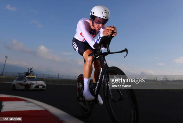 Brandon McNulty of Team United States rides during the Men's Individual time trial on day five of the Tokyo 2020 Olympic Games at Fuji International...