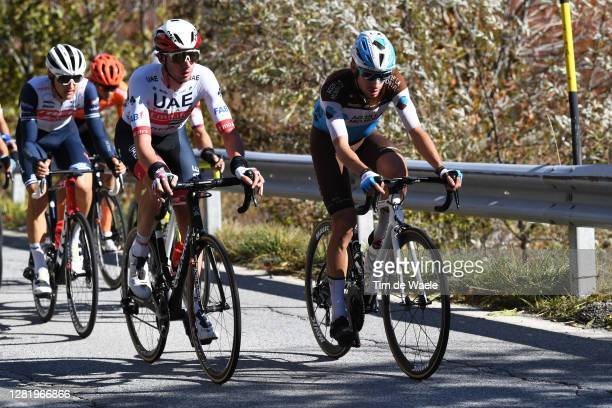 Brandon Mcnulty of The United States and UAE Team Emirates / Geoffrey Bouchard of France and Team Ag2R La Mondiale / Breakaway / during the 103rd...