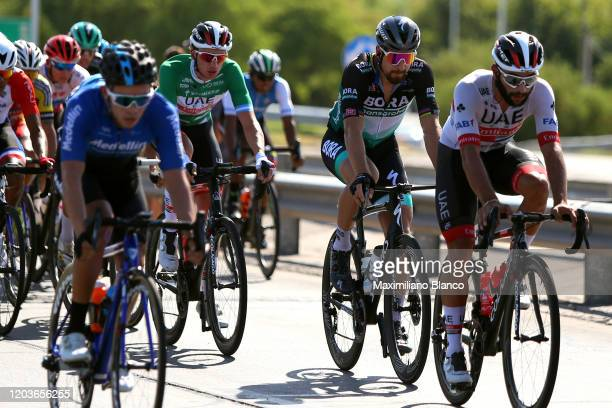 Brandon Mcnulty of The United States and UAE Team Emirates Green Best Young Jersey / Peter Sagan of Slovakia and Team Bora-Hansgrohe / Fernando...