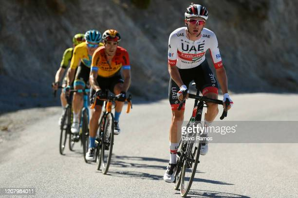 Brandon Mcnulty of The United States and UAE-Team Emirates / Mikel Landa of Spain and Team Bahrain - McLaren / Jakob Fuglsang of Denmark and Astana...