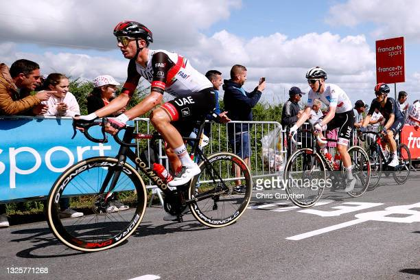 Brandon Mcnulty of The United States and UAE-Team Emirates, Tadej Pogačar of Slovenia and UAE-Team Emirates white best young jersey & Michał...