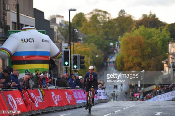 Brandon Mcnulty of The United States / during the 92nd UCI Road World Championships 2019 Men Under 23 Road Race a 173km race from from Doncaster to...