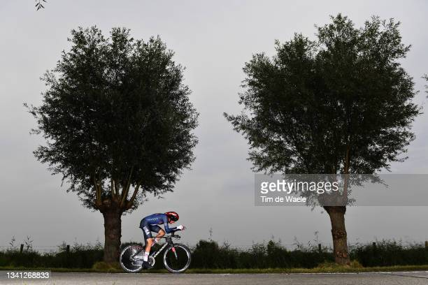 Brandon Mcnulty of The United States sprints during the 94th UCI Road World Championships 2021 - Men Elite ITT a 43,3km Individual Time Trial race...