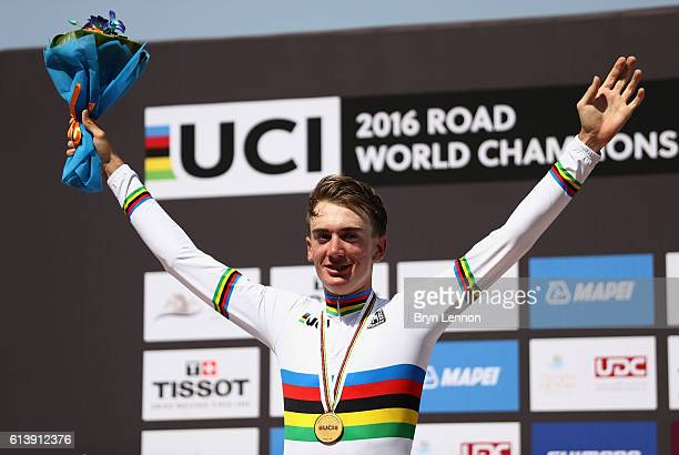 Brandon McNulty of the USA celebrates winning the gold medal in the Junior Men's Individual Time Trial on day 3 of the UCI Road World Championships...