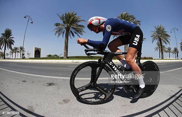 Brandon McNulty of the USA competes in the Junior Men's Individual Time Trial on day 3 of the UCI Road World Championships on October 11, 2016 in...