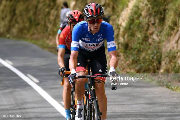 Brandon Mcnulty of United States and UAE Team Emirates Blue best young jersey during the 60th Itzulia-Vuelta Ciclista Pais Vasco 2021, Stage 4 a...
