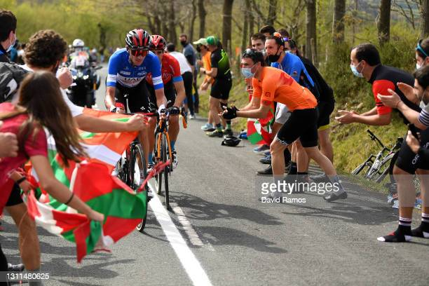 Brandon Mcnulty of United States and UAE Team Emirates Blue best young jersey & Mikel Landa Meana of Spain and Team Bahrain Victorious during the...