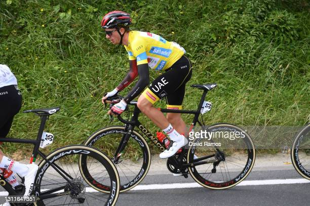 Brandon Mcnulty of United States and UAE Team Emirates Yellow Leader Jersey during the 60th Itzulia-Vuelta Ciclista Pais Vasco 2021, Stage 5 a...