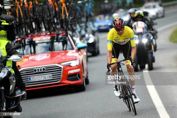 Brandon Mcnulty of United States and UAE Team Emirates Yellow Leader Jersey during the 60th Itzulia-Vuelta Ciclista Pais Vasco 2021, Stage 6 a...