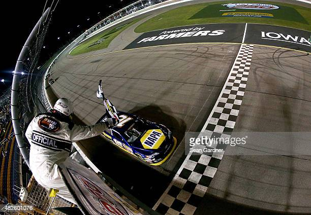 Brandon McReynolds driver of the NAPA Auto Parts Toyota takes the checkered flag while winning the NASCAR KN Pro Series #ThanksKenny 150 race at Iowa...