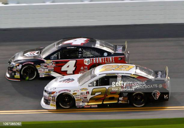 Brandon McReynolds KBR Development Toyota Todd Gilliland Frontline Enterprises Toyota during the running of the Lucas Oil 200 on February 9 2019 at...
