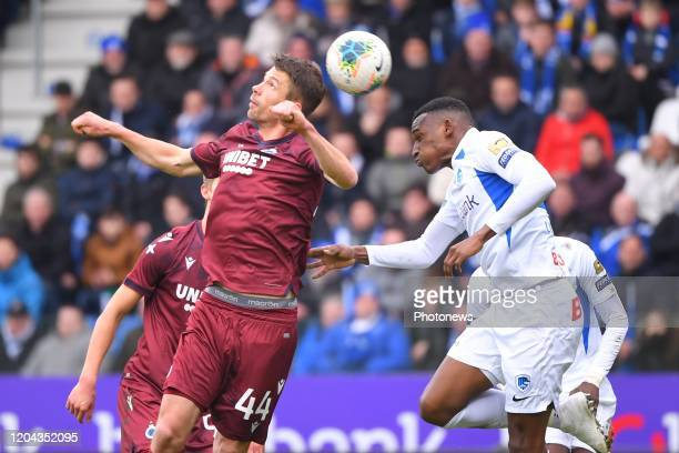 Brandon Mechele defender of Club Brugge Jhon Lucumi defender of Genk during the Jupiler Pro League match between KRC Genk and Club Brugge KV on March...