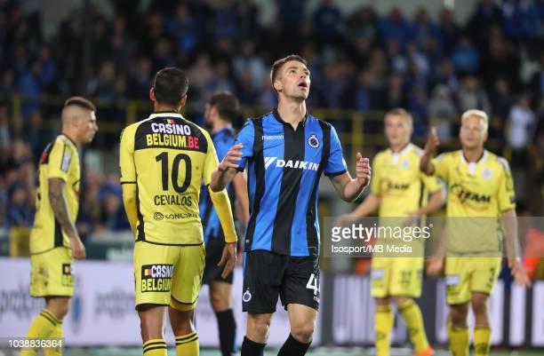 Brandon Mechele reacts during the Jupiler Pro League match between Club Brugge and KSC Lokeren OV at Jan Breydel Stadium on September 14 2018 in...