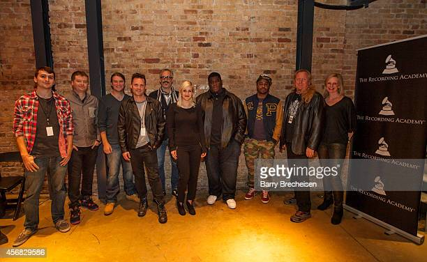 Brandon Miller Andrew Barber Matt Hennessy Steven Gillis Brian Deck Sarah Jansen Salaam Remi Just Blaze Larry Sturm and Tera Healy during the GRAMMY...