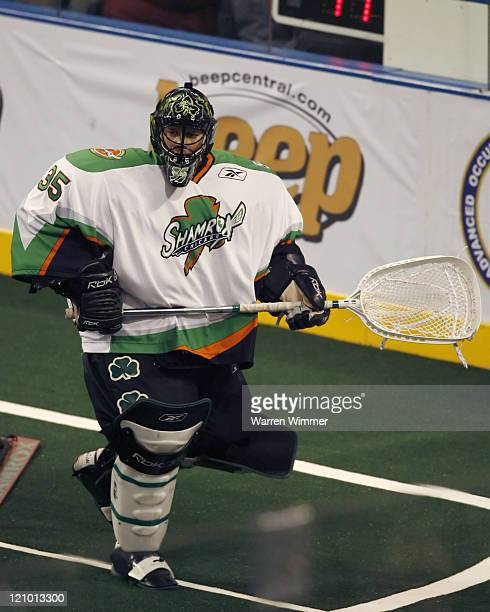 Brandon Miller goalie of the Shamrox clears his zone during game action at the Sears Centre Hoffman Estates IL where the Buffalo Bandits defeated the...