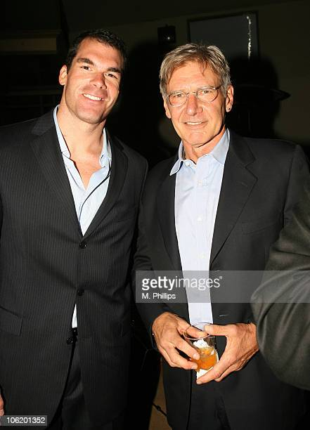 Brandon Molale and Harrison Ford during 2007 Taurus World Stunt Awards After Party at Paramount Studios in Los Angeles California United States