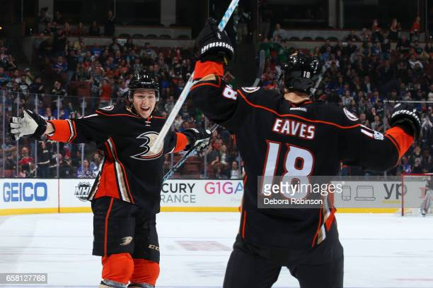 Brandon Montour and Patrick Eaves of the Anaheim Ducks celebrate a goal during the game against the New York Rangers on March 26 2017 at Honda Center...