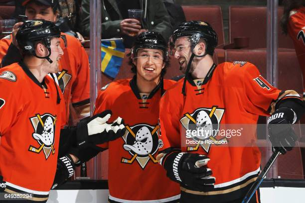 Brandon Montour Nick Ritchie and Logan Shaw of the Anaheim Ducks chat during warmups of the game against the Nashville Predators on March 7 2017 at...