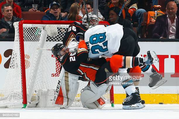 Brandon Montour of the Anaheim Ducks battles against Timo Meier of the San Jose Sharks in Game One of the Western Conference First Round during the...