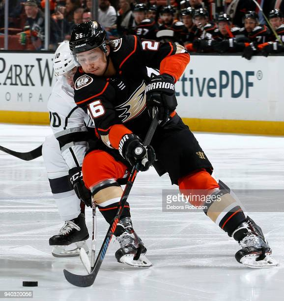 Brandon Montour of the Anaheim Ducks battles for the puck against Tobias Rieder of the Los Angeles Kings during the game on March 30 2018 at Honda...