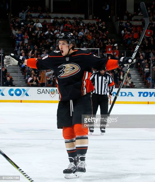 Brandon Montour of the Anaheim Ducks celebrates a goal in the third period of the game against the Winnipeg Jets on January 25 2018 at Honda Center...