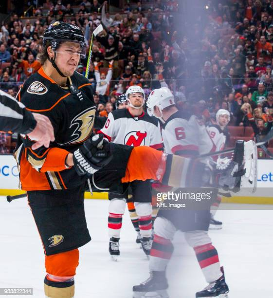 Brandon Montour of the Anaheim Ducks celebrates after his thirdperiod goal during the game against the New Jersey Devils at Honda Center on March 18...