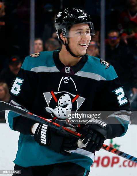 Brandon Montour of the Anaheim Ducks celebrates his first period goal during the game against the Chicago Blackhawks on December 5 2018 at Honda...
