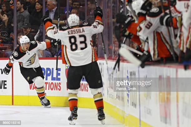 Brandon Montour of the Anaheim Ducks celebrates his goal against the Philadelphia Flyers during the second period at Wells Fargo Center on October 24...